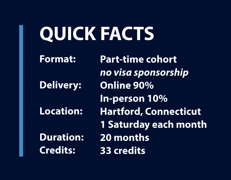 Quick facts: part-time, online/in-person in Hartford, 20 months, 33 credits